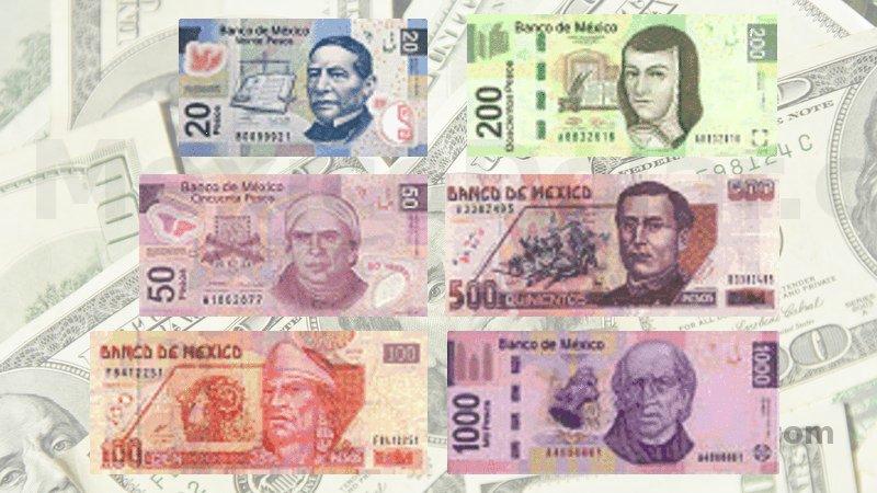 dolar dinero mexicano billetes monedas